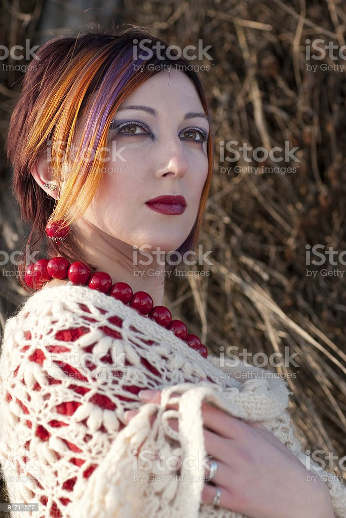 Young woman with make-up is looking away royalty-free stock photo