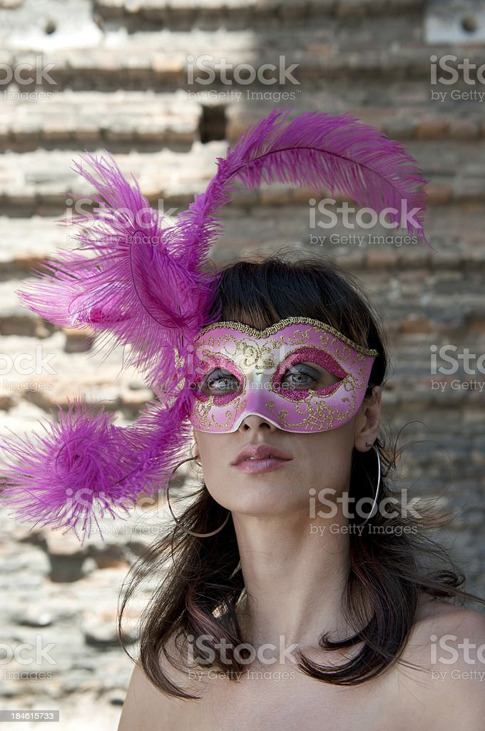 Young Woman with Mask in Venice royalty-free stock photo