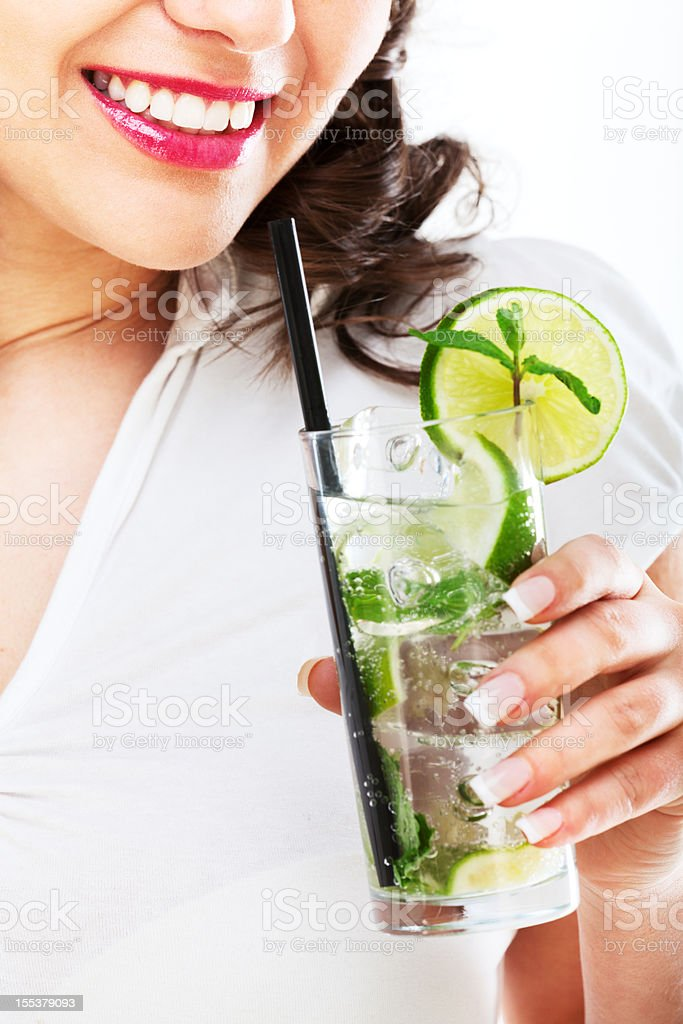 Young woman with mojito royalty-free stock photo