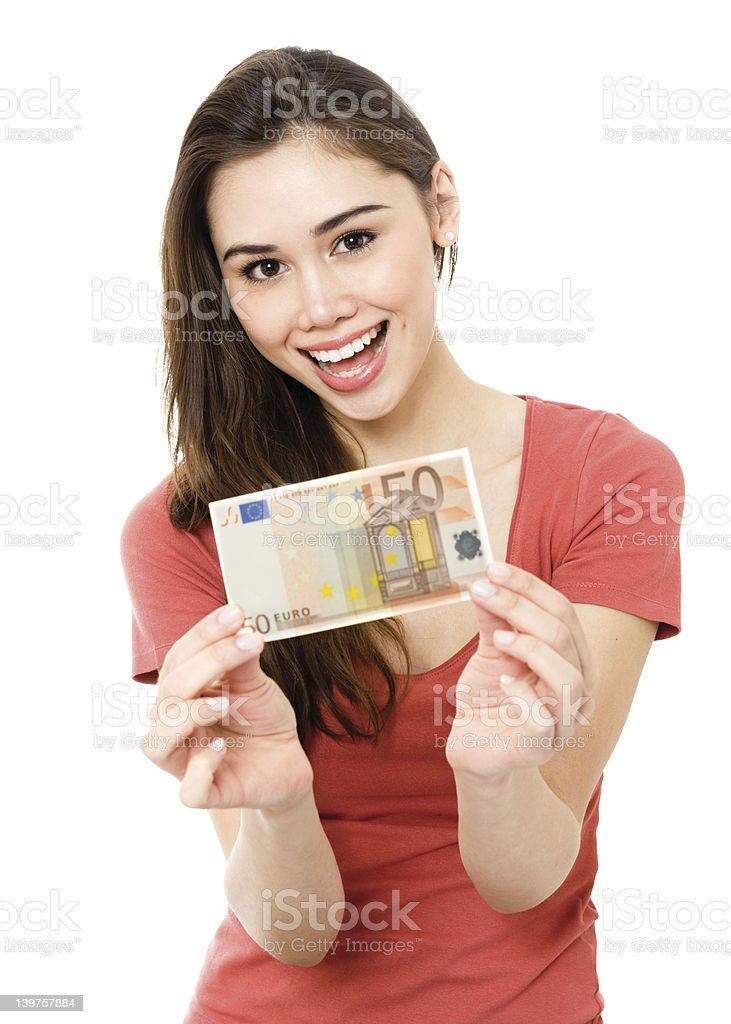 Young woman with money stock photo