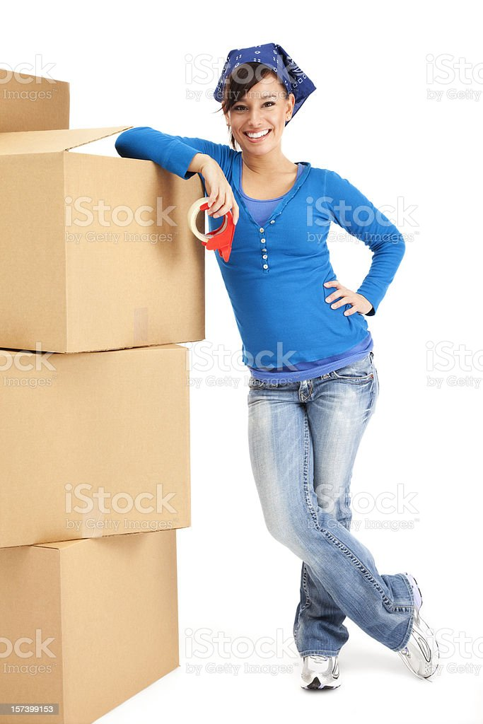 Young Woman with Moving Boxes royalty-free stock photo