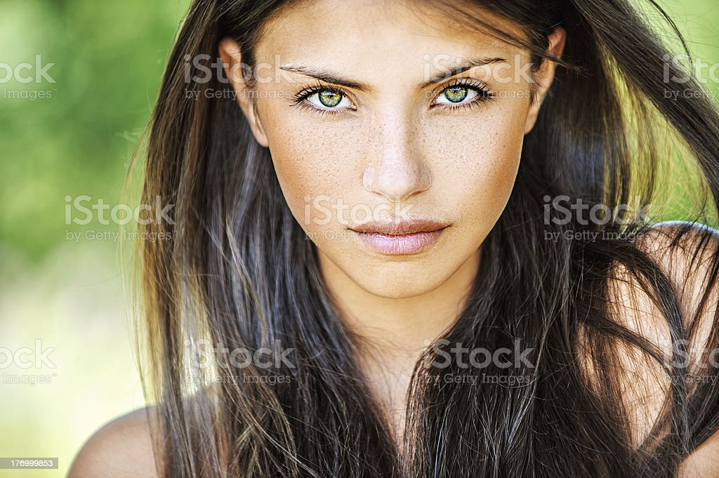 Young woman with multicolored eyes royalty-free stock photo