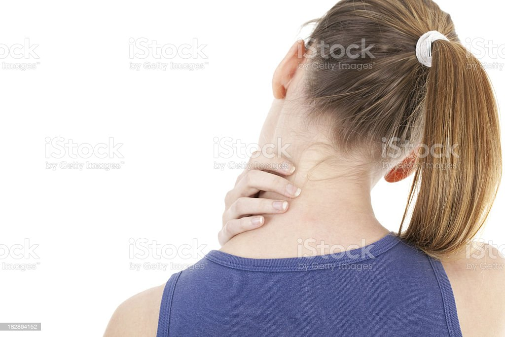 Young woman with neck ache royalty-free stock photo