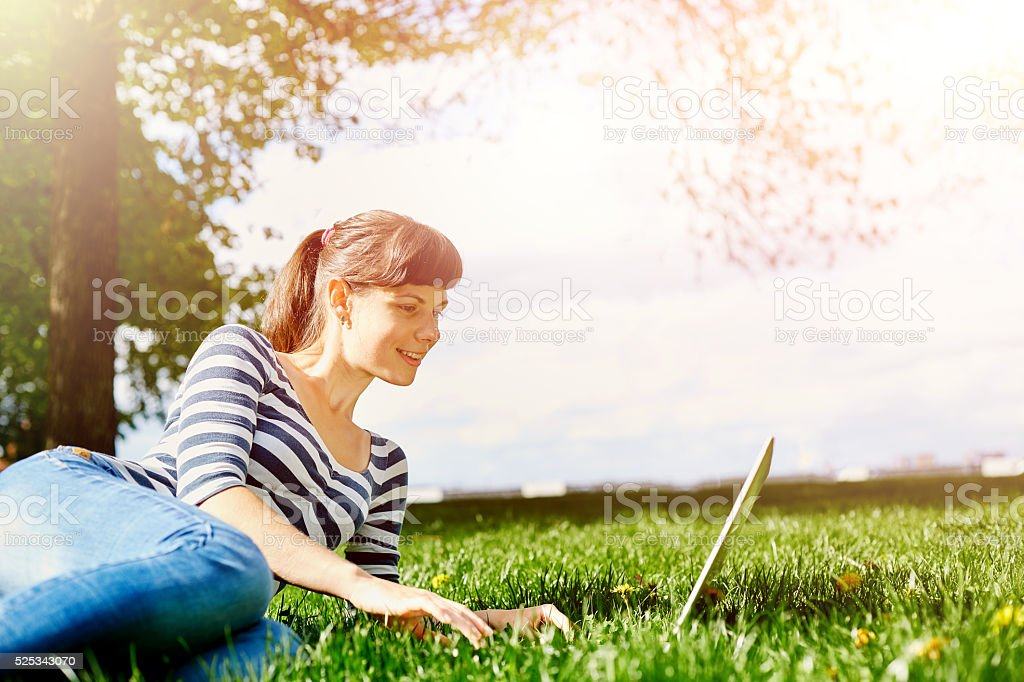 young woman with notebook stock photo