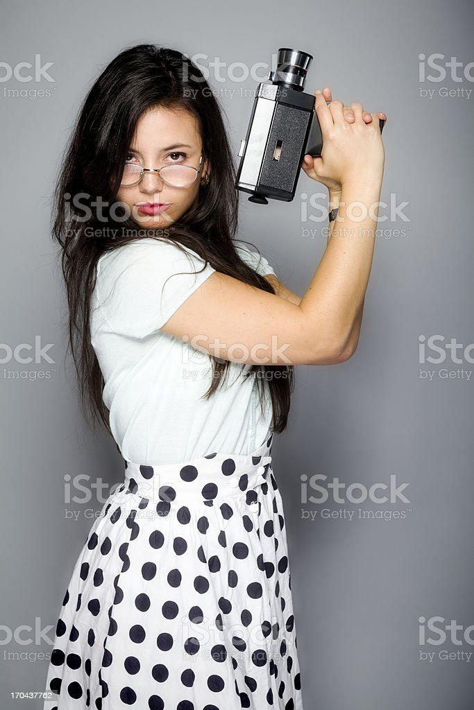 Young woman with old camera stock photo