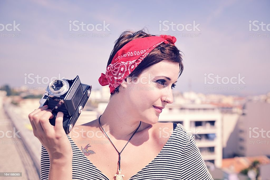 Young Woman with Old-Fashioned Camera royalty-free stock photo