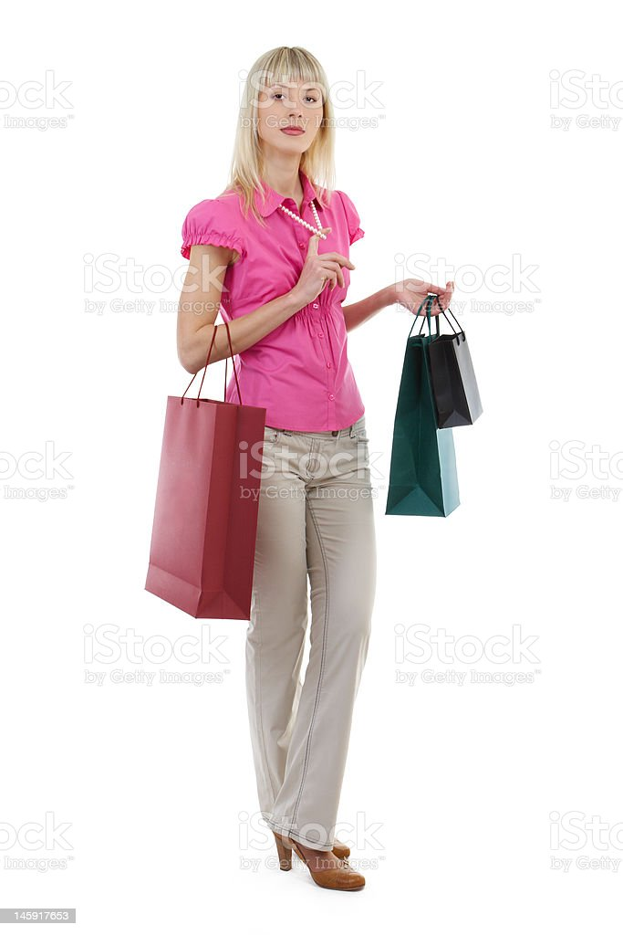 Young woman with paper bags royalty-free stock photo