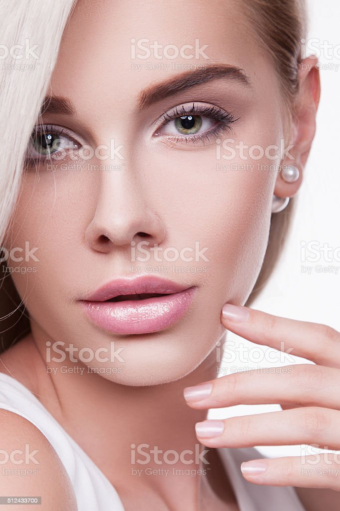 Young woman with perfect skin stock photo