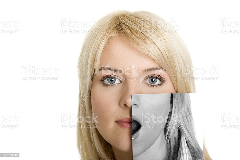Young woman with photo of her other side stock photo