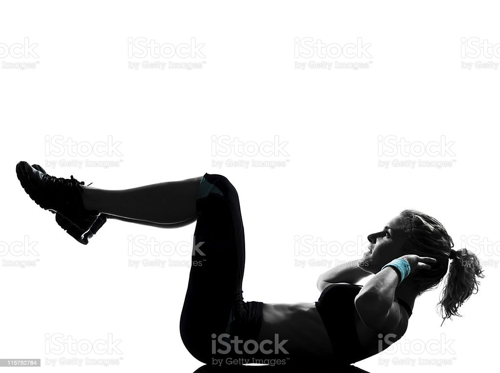 Young woman with ponytail in fitness posture stock photo
