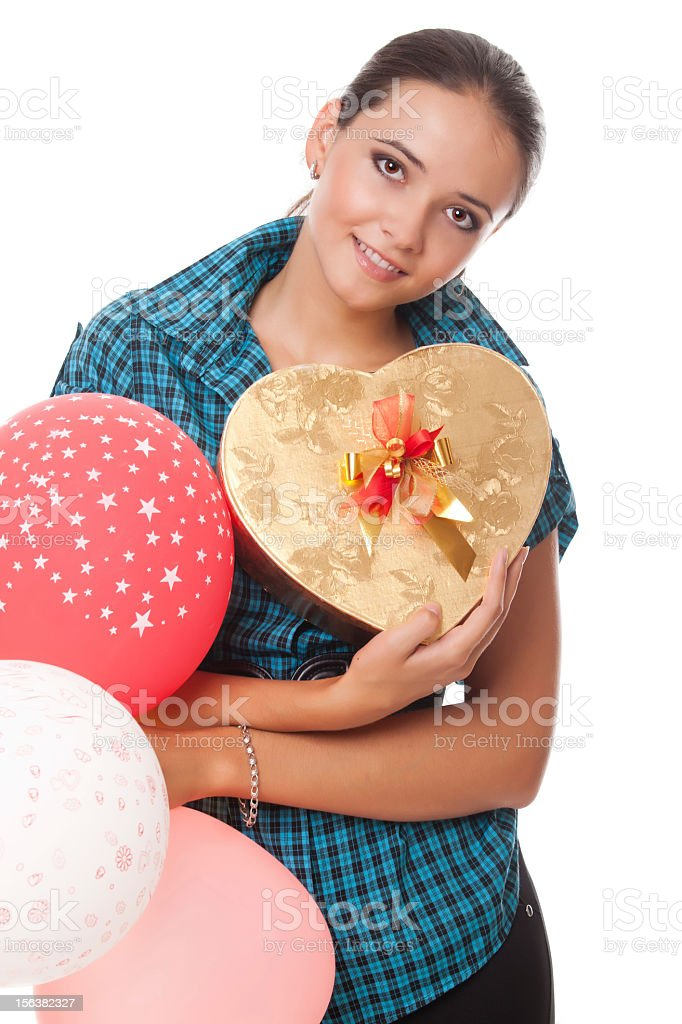 young woman with present and balloons for happy birthday royalty-free stock photo