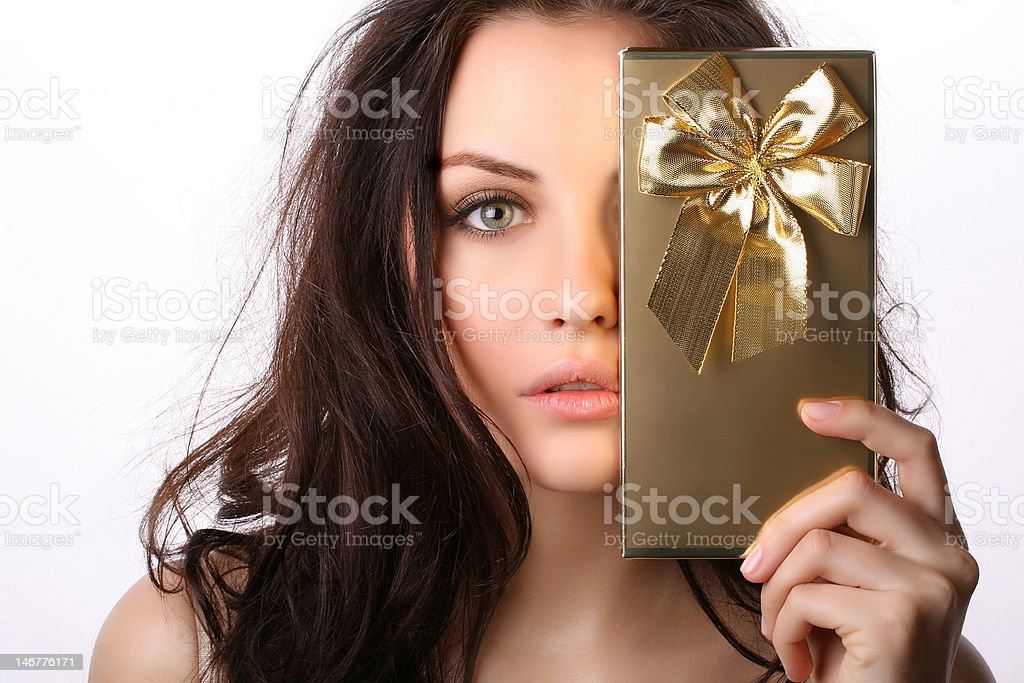 young woman with present royalty-free stock photo