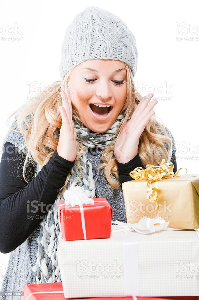 Young woman with presents royalty-free stock photo