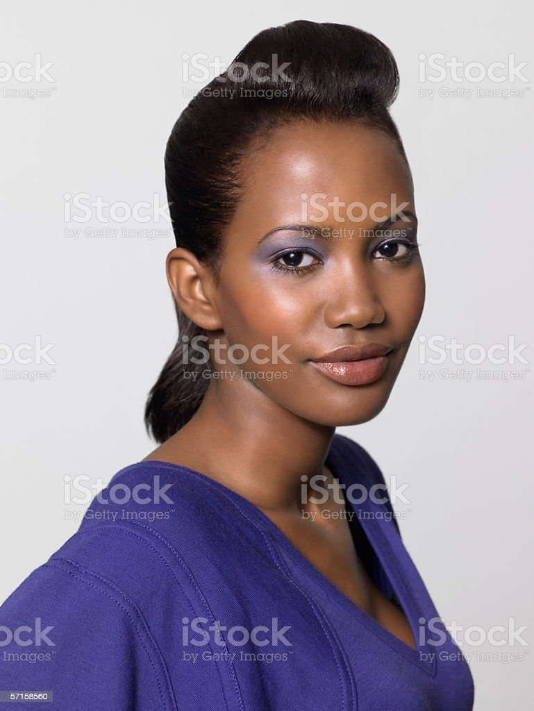 Young woman with quiff hairstyle stock photo