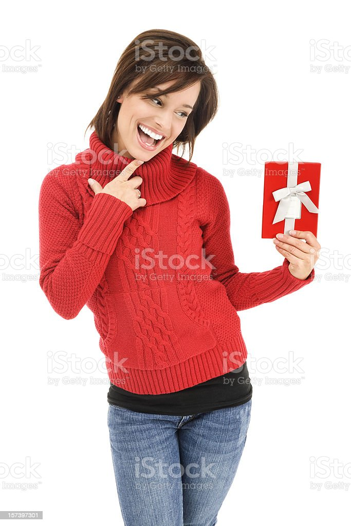 Young Woman with Red Christmas Gift Box royalty-free stock photo