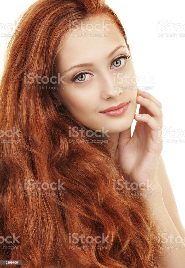 Young woman with red hair and green eyes stock photo