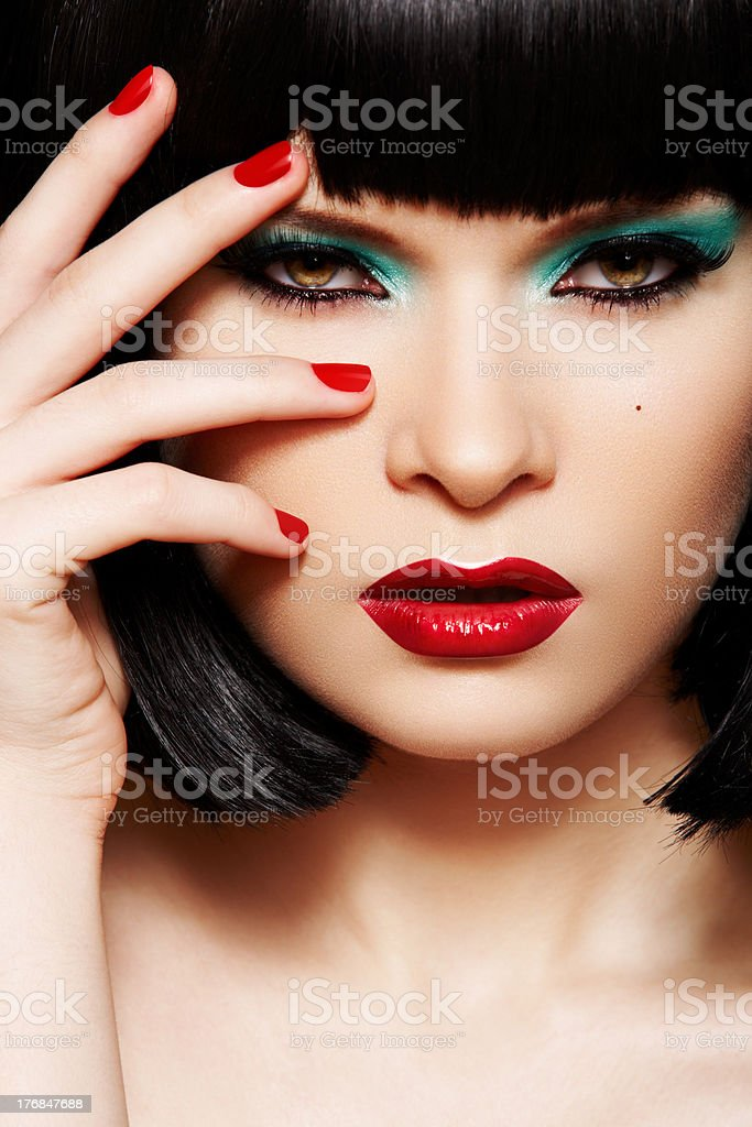 Young woman with retro glamour make-up, bob hairstyle royalty-free stock photo