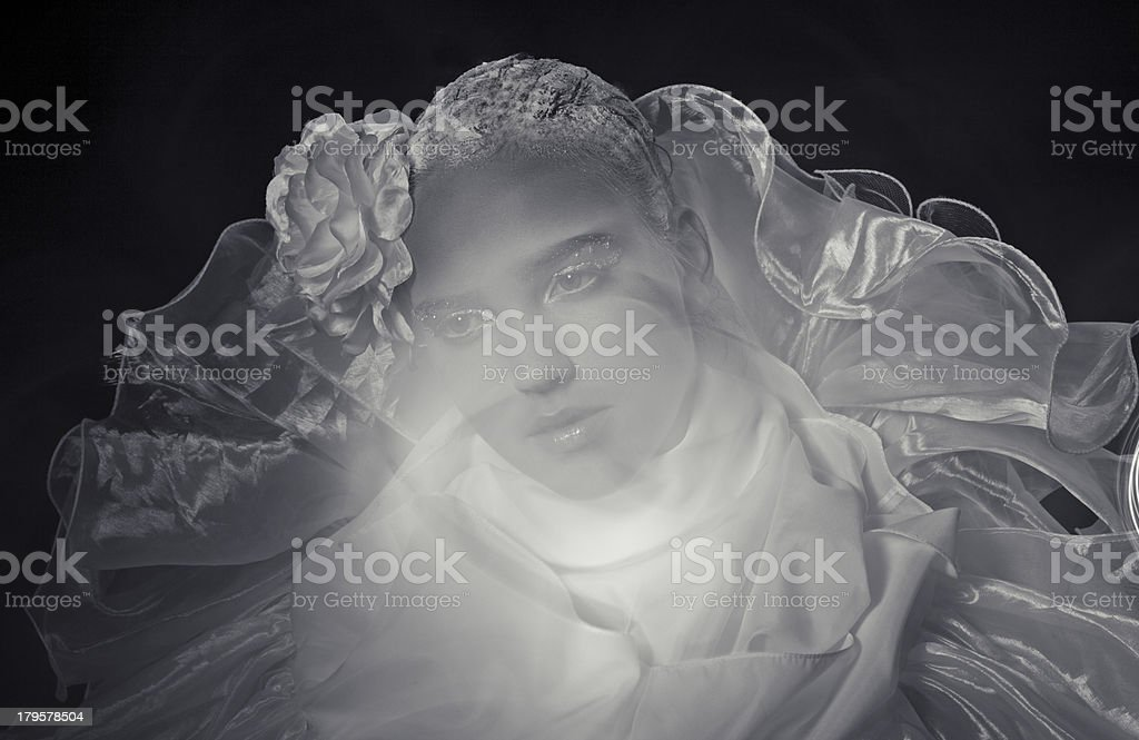 young woman with rose on her head royalty-free stock photo