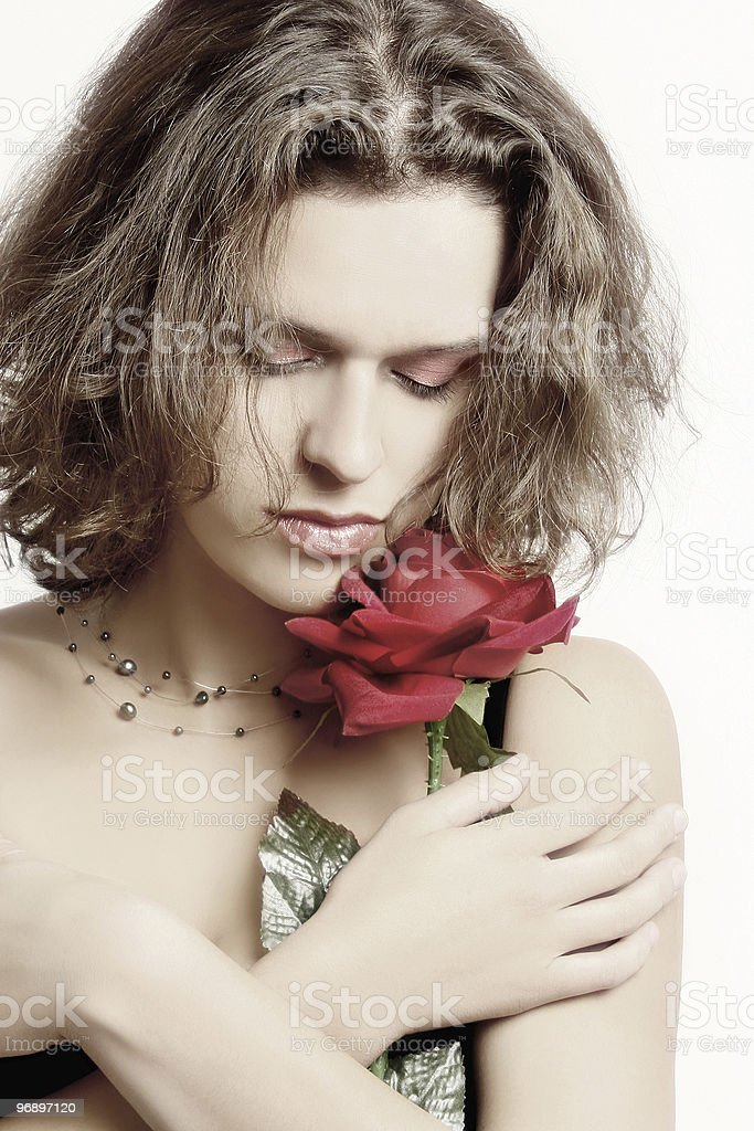 Young woman with rose royalty-free stock photo