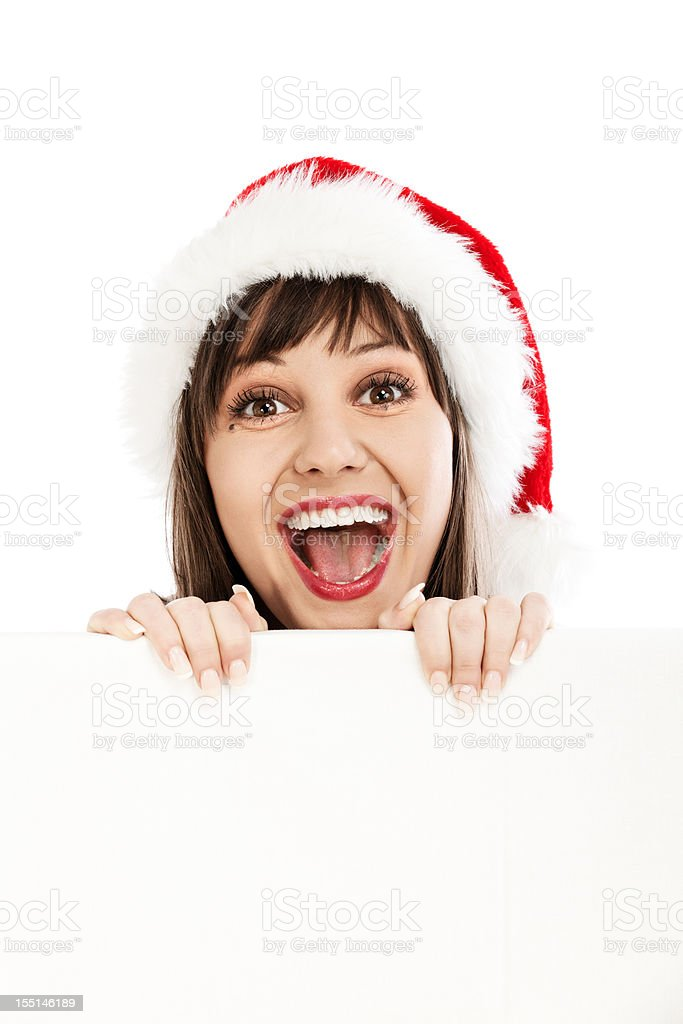 Young woman with santa hat stock photo