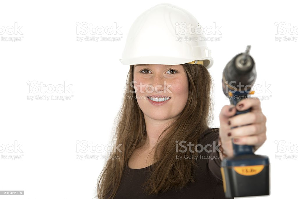 young woman with screwdriver stock photo