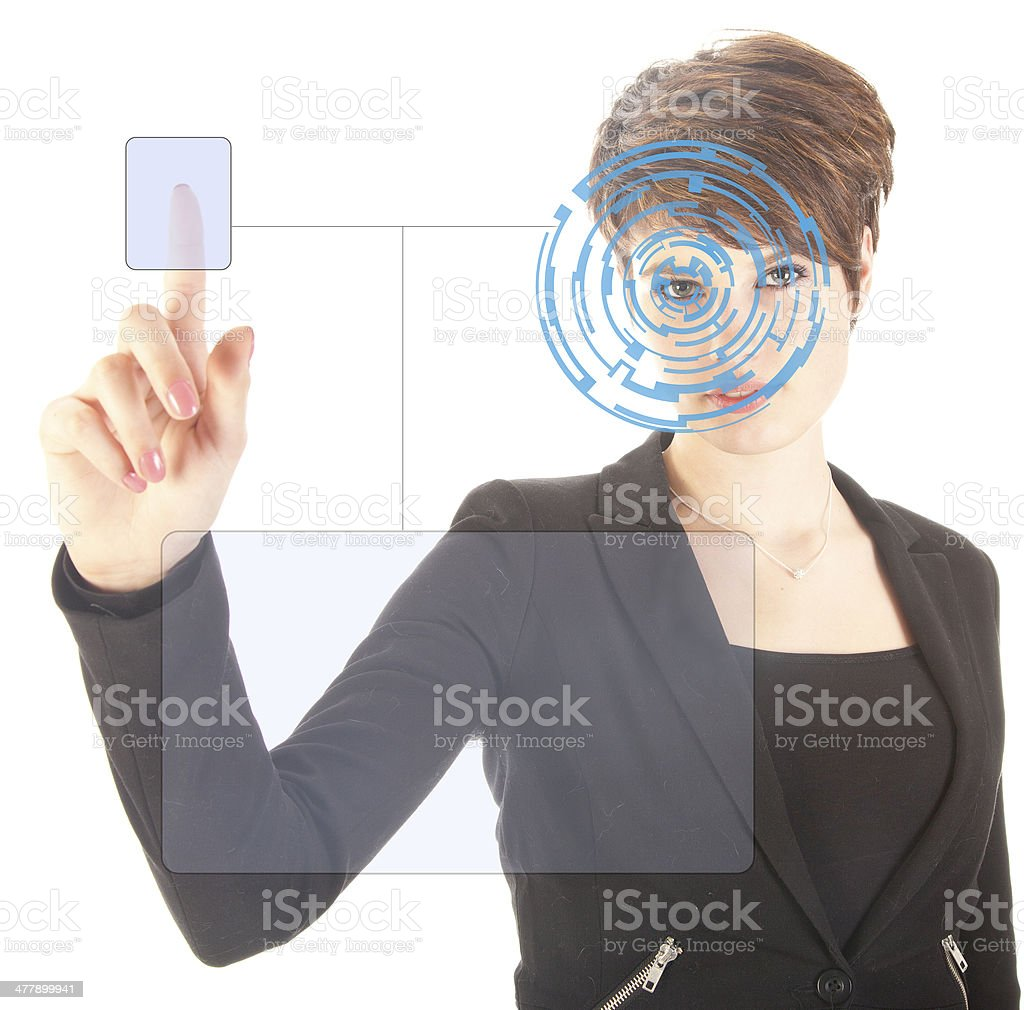 Young woman with security iris and fingerprint scan isolated royalty-free stock photo