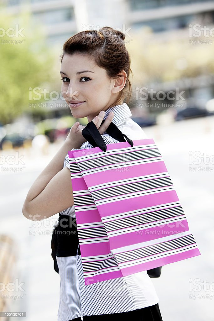 Young Woman with Shopping Bag royalty-free stock photo