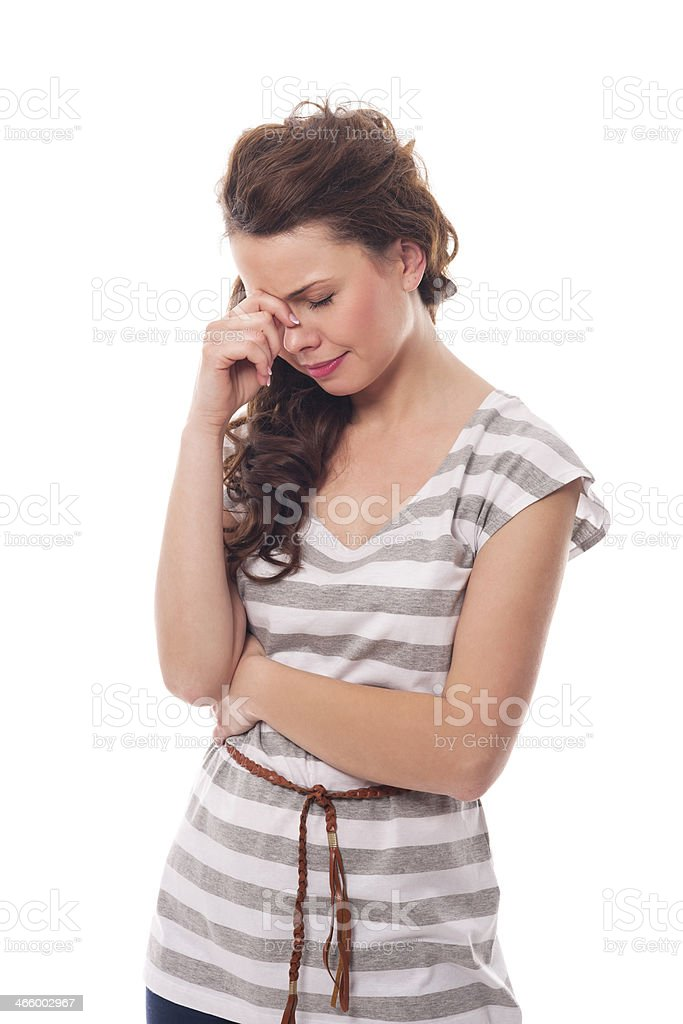 Young woman with sinus pressure stock photo