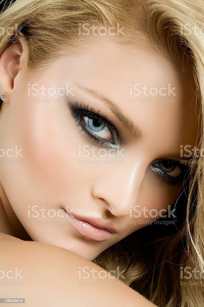 Young Woman with Smokey Eye Make-up royalty-free stock photo