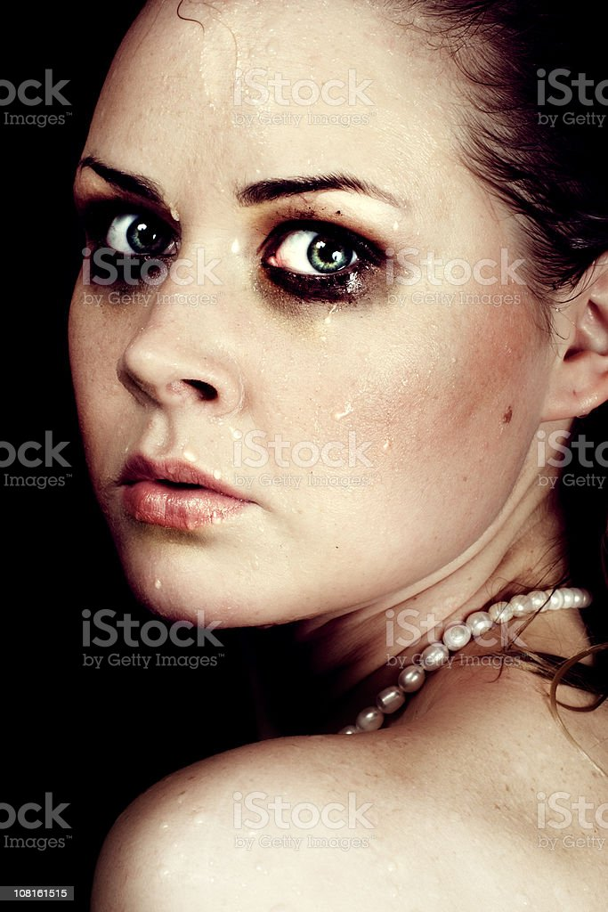 Young Woman with Smudged Make-up stock photo
