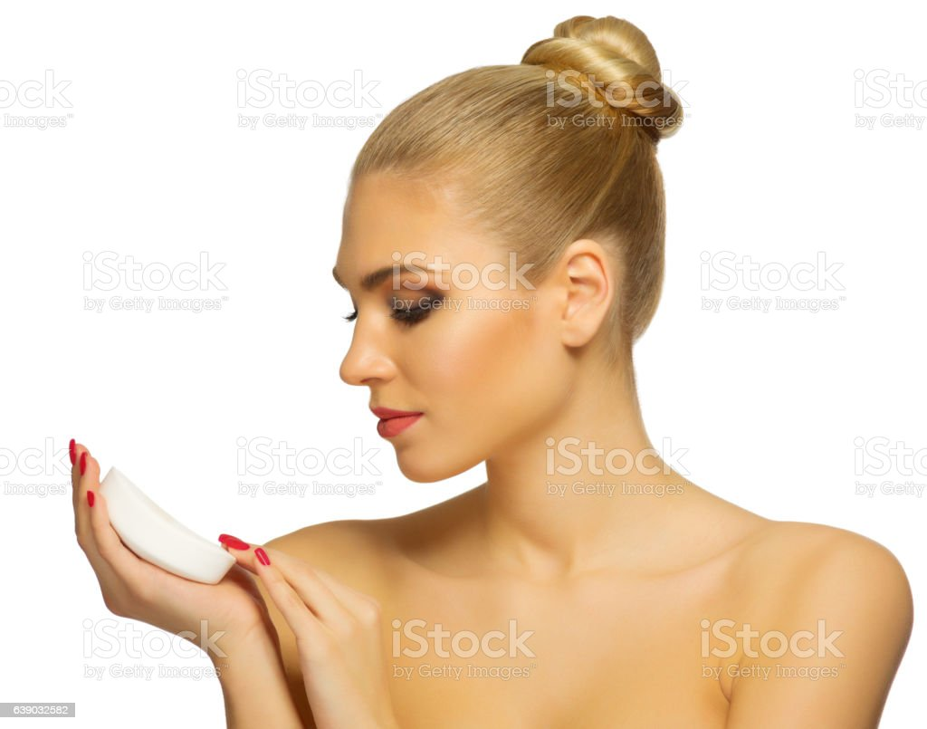 Young woman with soap stock photo
