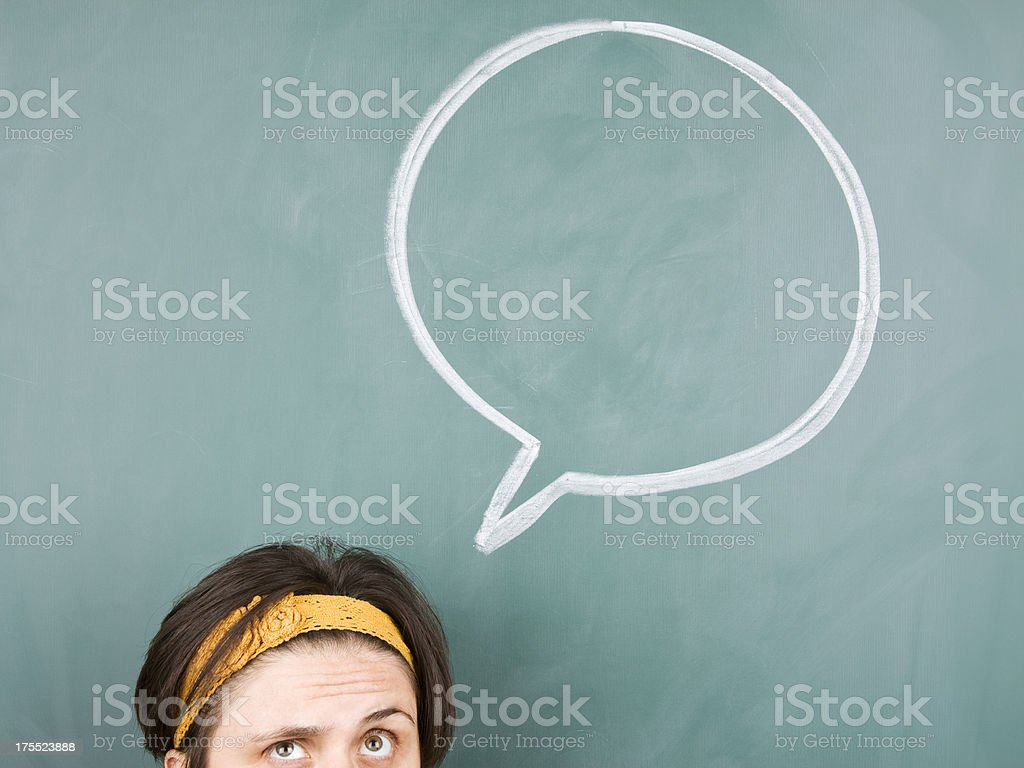 Young woman with speech bubble royalty-free stock photo