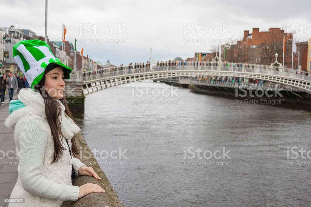 Young woman with St. Patrick's hat stock photo