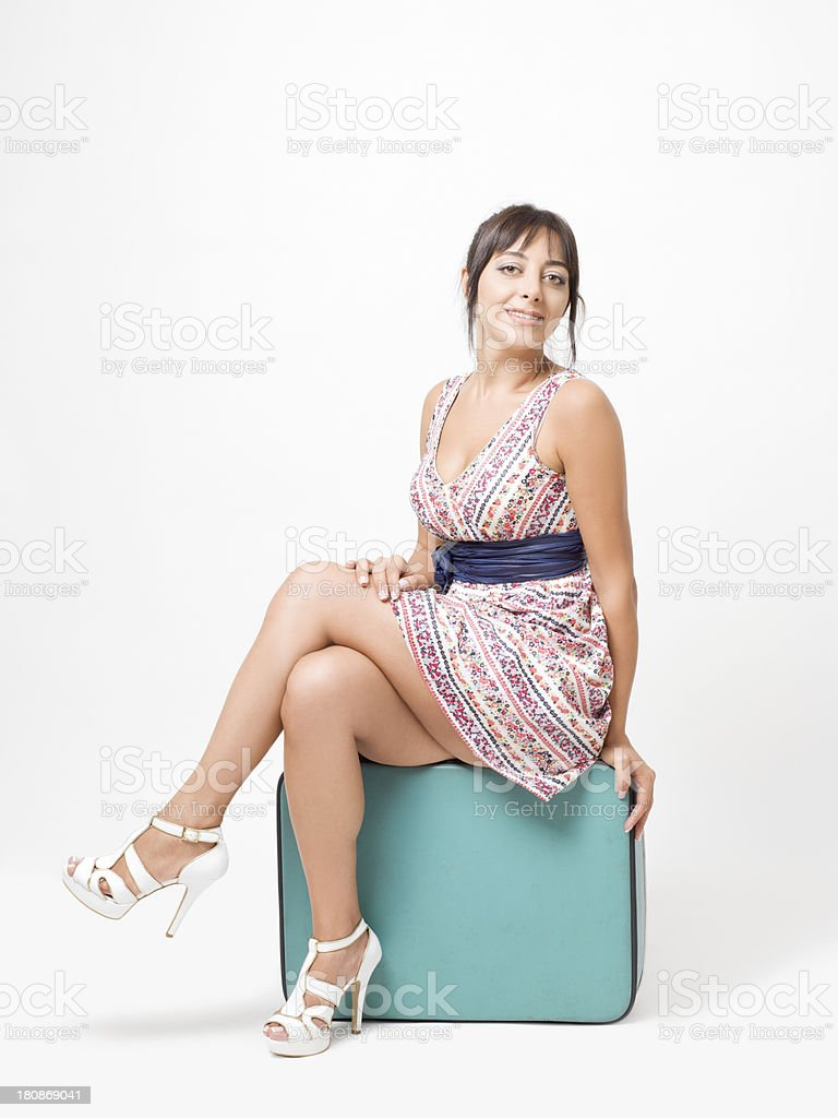 Young woman with suitcase royalty-free stock photo