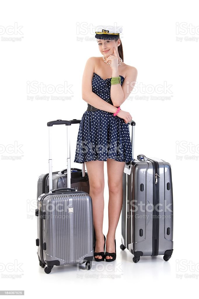 Young woman with suitcases royalty-free stock photo
