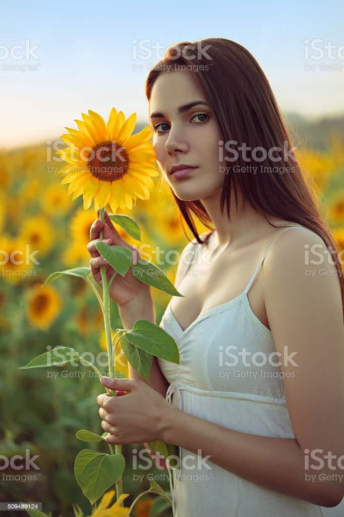 Young woman with sunflower stock photo