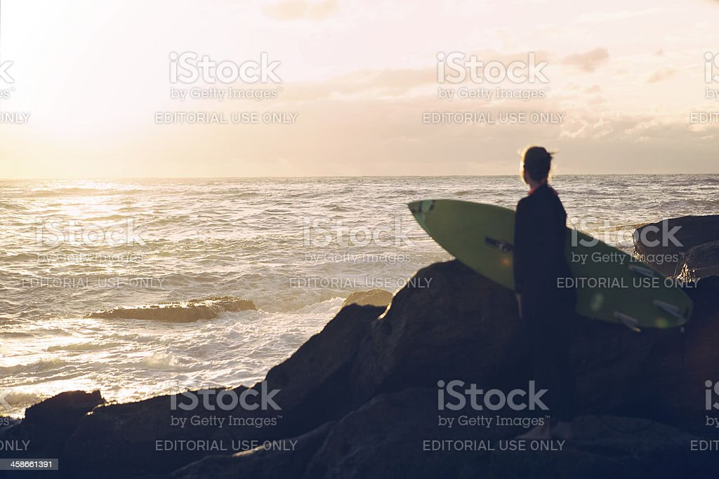 Young Woman With Surfboard royalty-free stock photo