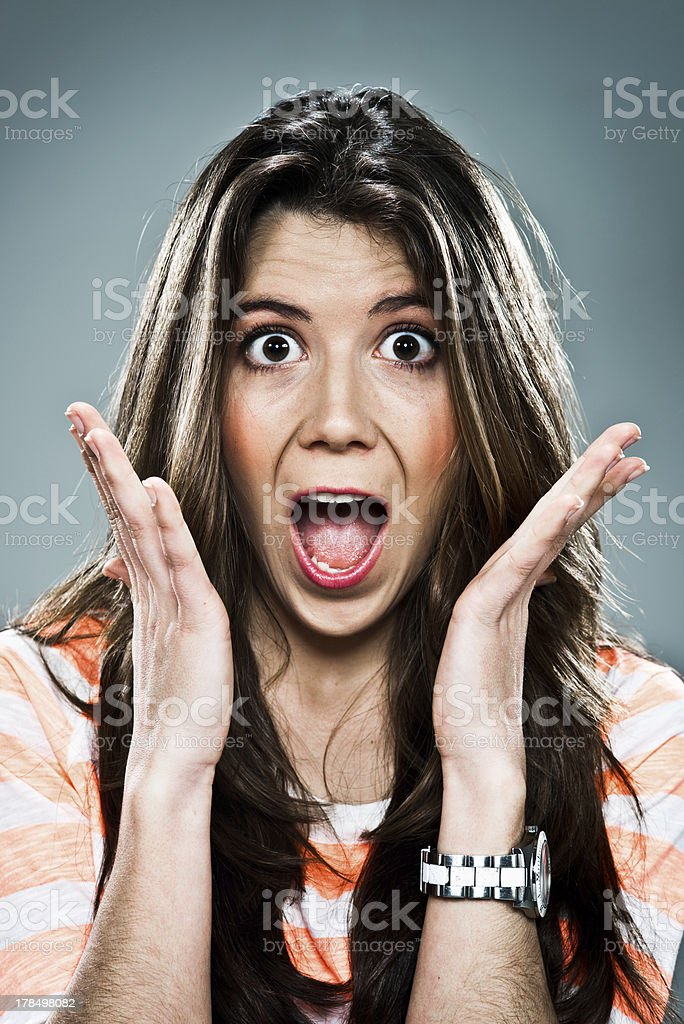 Young Woman with Surprise Expression royalty-free stock photo