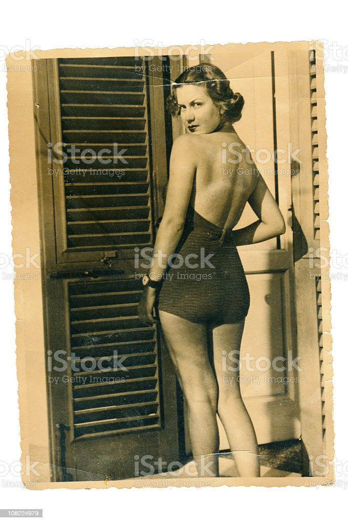 Young Woman with Swimwear in 1935. Black And White stock photo