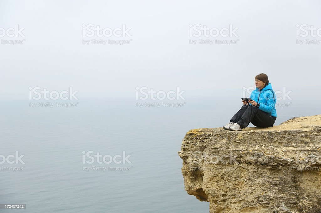 young woman with tablet computer royalty-free stock photo