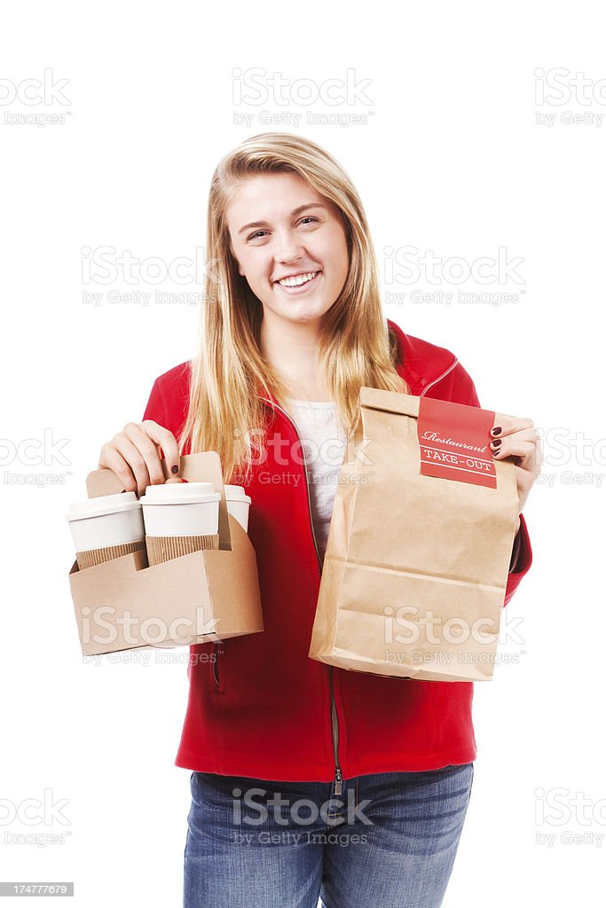 Young Woman with Take Out Food and Drinks on White royalty-free stock photo