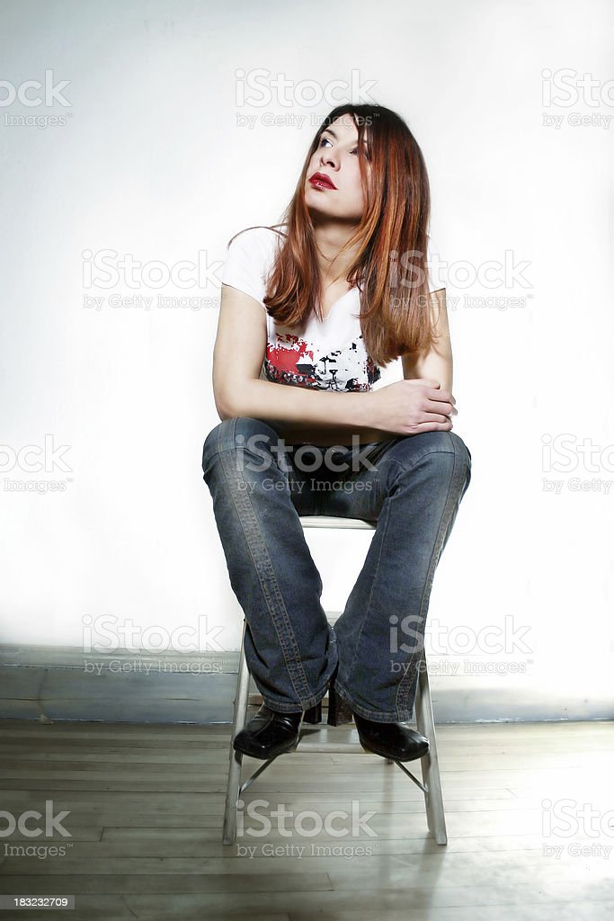 Young woman with the blues royalty-free stock photo