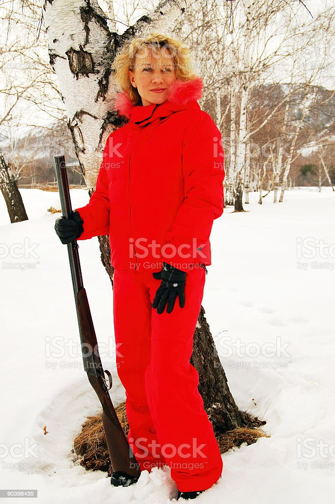 Young woman with the Gun-14 royalty-free stock photo