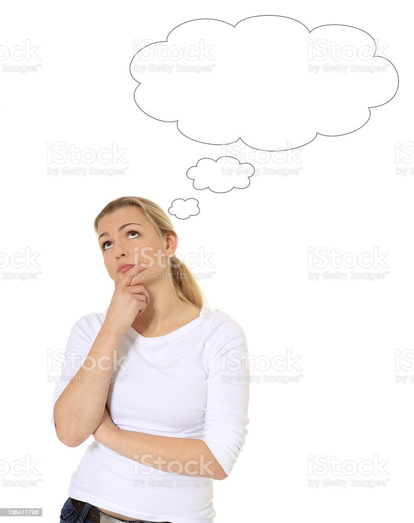 Young woman with thought bubble stock photo