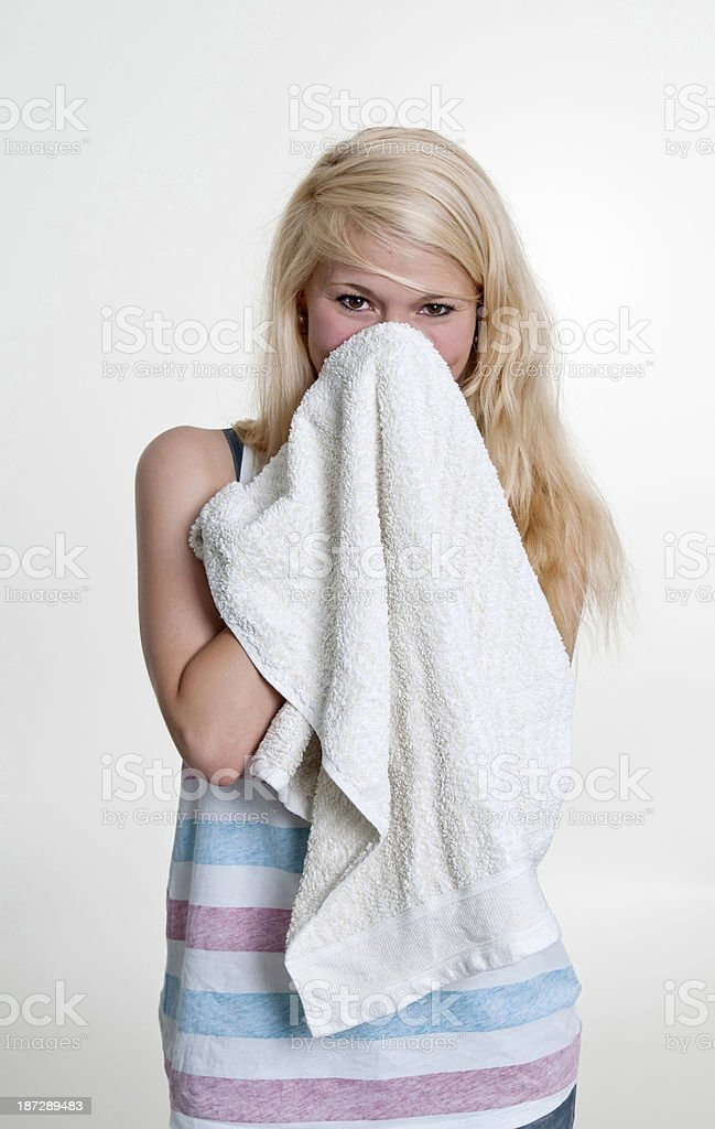 young woman with towel royalty-free stock photo
