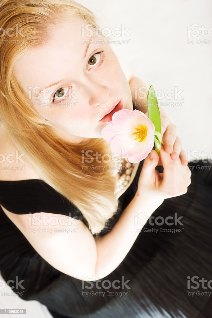 young woman with tulip royalty-free stock photo