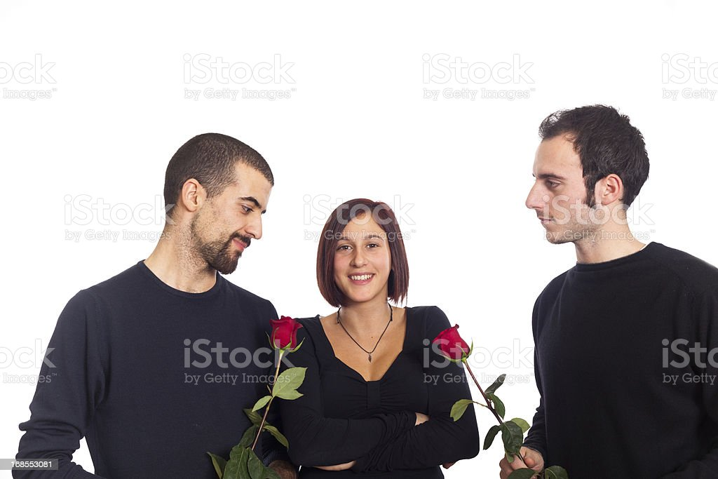 Young Woman with Two Boyfriends stock photo