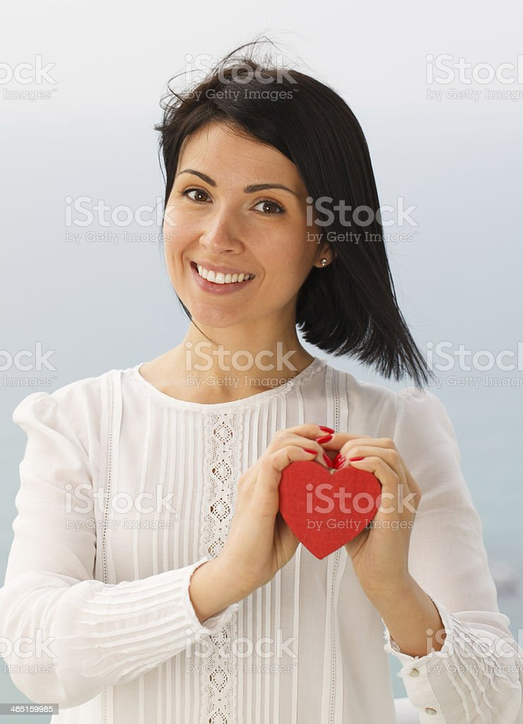 Young woman with Valentine's Heart stock photo