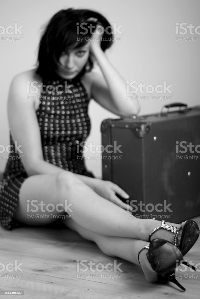 young woman with valise royalty-free stock photo