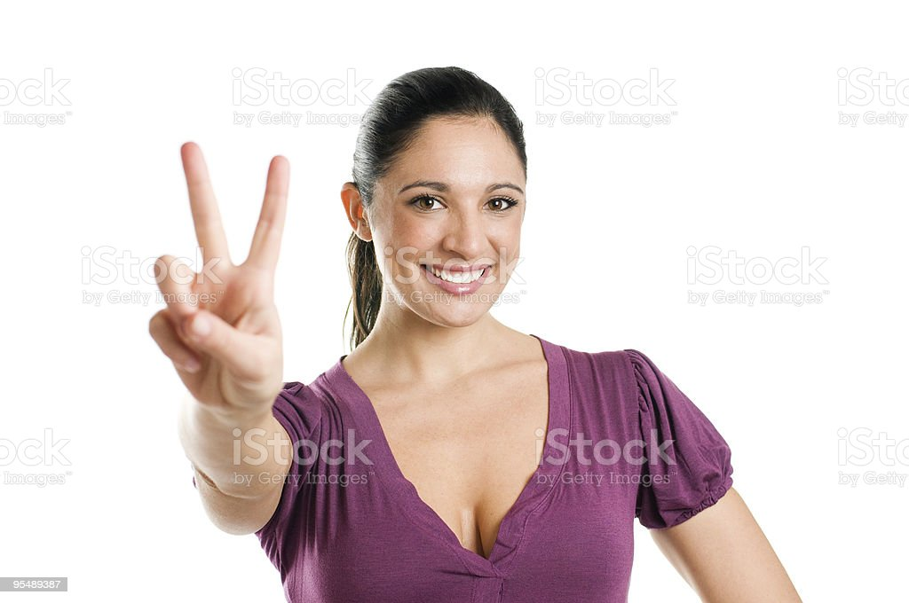 Young woman with victory sign royalty-free stock photo